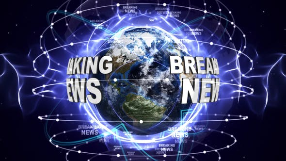 Breaking News Text and Earth Loop 4k