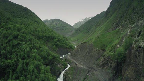 Thumbnail for Caucasus Mountains River Caucasian Beauty Nature Georgia Animals Waterwall Drone