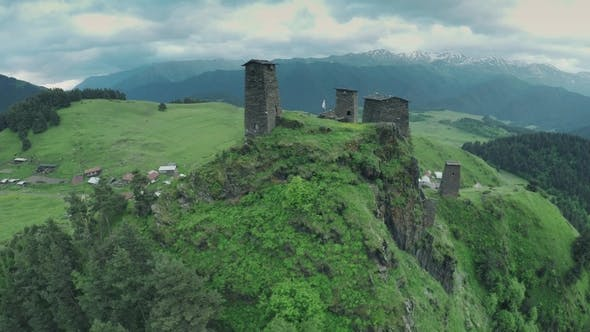 Omalo Village and Watchtowers in Caucasus Mountains Epic Flight Hills and Georgian Valley Beauty