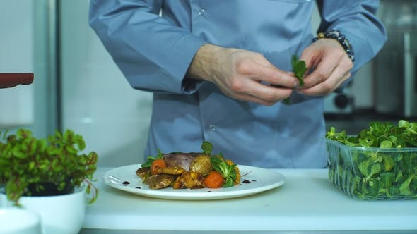 Food Stylist Decorating a Pork Dish. Waiter Serving Food for Presentation To the Client