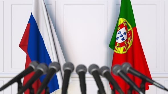 Thumbnail for Flags of Russia and Portugal at International Press Conference
