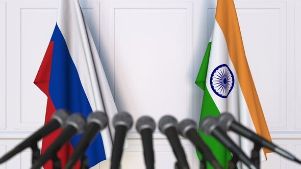 Thumbnail for Flags of Russia and India at International Press Conference