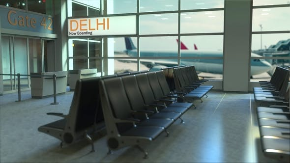 Delhi Flight Boarding in the Airport Travelling To India
