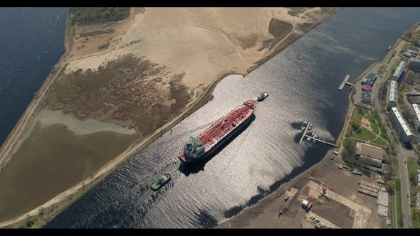 Tanker in the River with Tow, Ocean, Big Merchant Ship Vessel Cruise Drone Flight