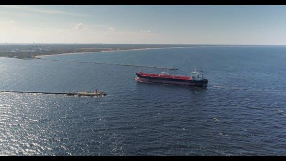 Tanker in Open Sea, Ocean, Big Merchant Ship Vessel Cruise Drone Flight