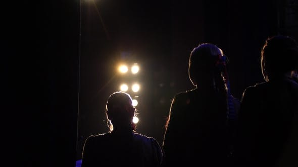 Thumbnail for Silhouette of Actors in the Spotlight. Artists on Stage . Modern Performance