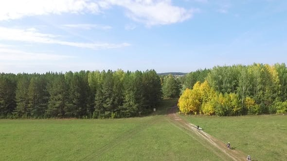 Mans on Bicycle Race on the Road in Beautiful Colorful Summer Nature. Footage. Scenery From Active