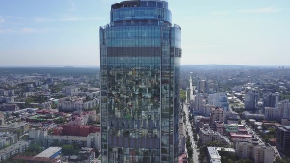 Thumbnail for Beautiful Skyscraper in the Centre Aerial View. Modern Building in City Centre. Beautiful Town