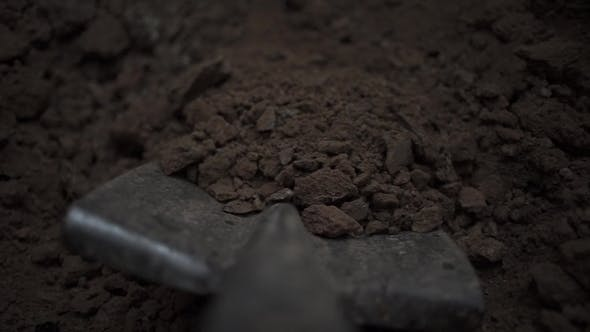 Thumbnail for To Dig in the Shovel. Footage. Soil with Shovel View of a Shovel. , Shallow DOF. Digging Spring Soil
