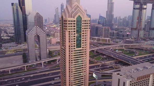 Thumbnail for View on Modern Skyscrapers and Busy Evening Highways Day in Luxury Downtown of Dubai City. Top