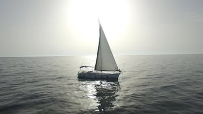 Sailboat at Sea. Footage. Sail Boat on Ocean