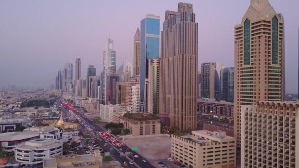 Thumbnail for View on Modern Skyscrapers and Busy Evening Highways Day in Luxury Downtown of Dubai City
