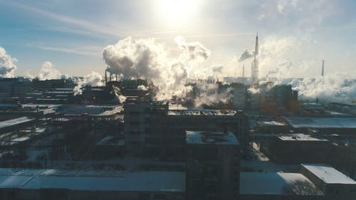 Factory Pollutes the Atmosphere Harmful Emissions