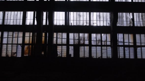 Thumbnail for Big Windows From Inside of an Old and Abandoned Warehouse