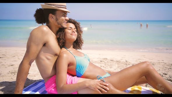 Thumbnail for Happy Couple Enjoying at Ocean