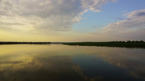Thumbnail for Barge on River at Sunset, ,