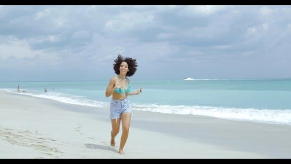 Thumbnail for Cheerful Girl Running on Tropical Coastline