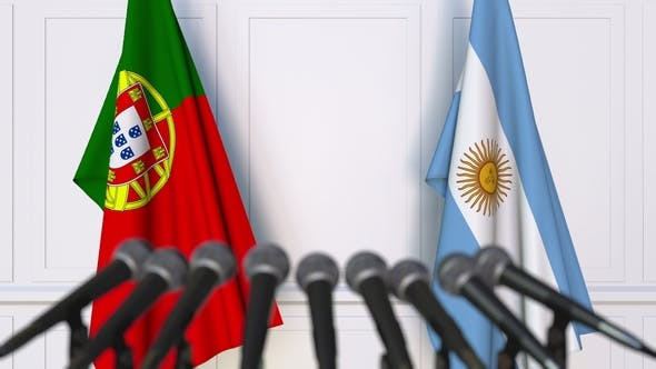 Thumbnail for Flags of Portugal and Argentina at International Press Conference