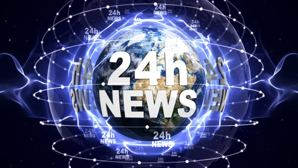 Cover Image for 24h News Text and Earth Loop 4k