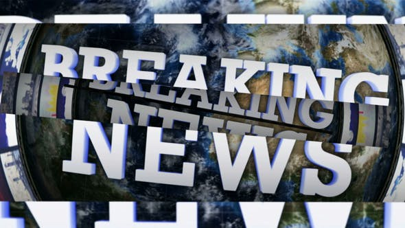 Thumbnail for Breaking News Text and Opening Bars, with Alpha Matte, Loop 4k