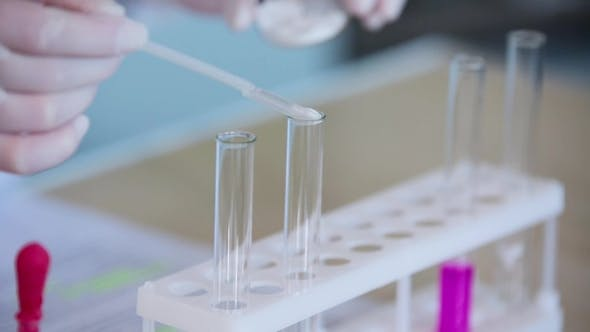 Thumbnail for Scientist Pours the Powder into the Vial