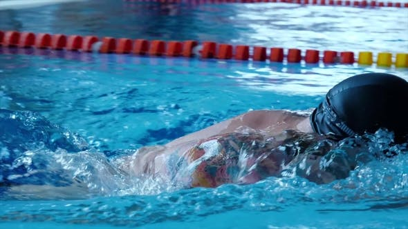 Cover Image for Swimming Pool Sport Crawl Swimmer Athlete Banner. Man Doing Freestyle Stroke Technique in Water Pool