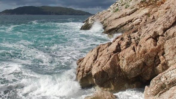 Pure Blue Waters Sea, Coastal Waves Breaking And Splashing Adventure On Sea Coast Surf Rocks