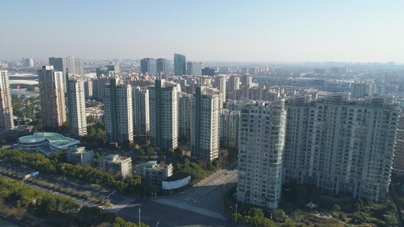 Thumbnail for Shanghai Sleeping District at Sunny Day. China. Aerial View
