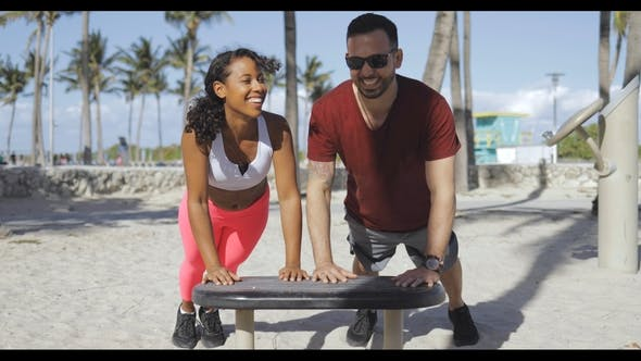 Thumbnail for Laughing Sportive Couple Training in Beach Gym