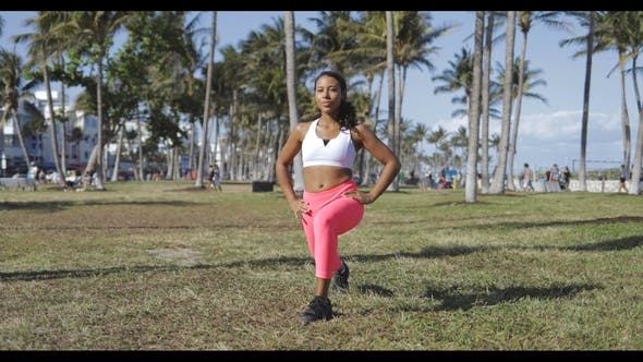 Thumbnail for Confident Black Woman Working Out on Meadow