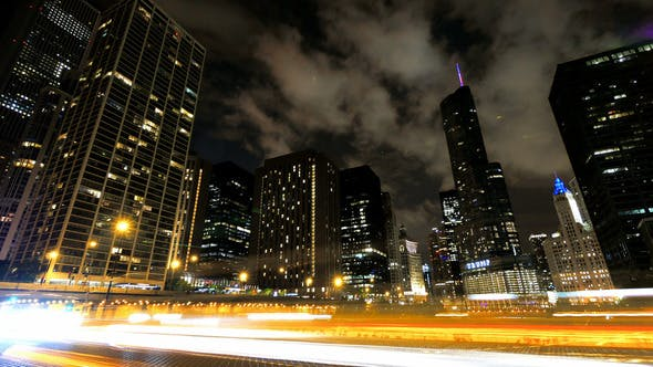 Thumbnail for Chicago Skyscrapers at Night with Cars Crossing the City