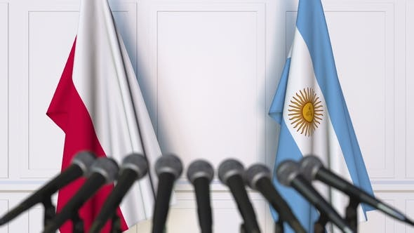 Thumbnail for Flags of Poland and Argentina at International Press Conference