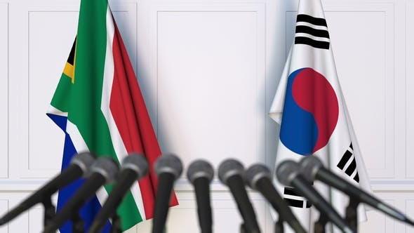 Thumbnail for Flags of South Africa and Korea at International Press Conference