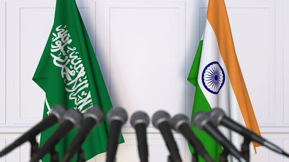 Thumbnail for Flags of Saudi Arabia and India at International Press Conference