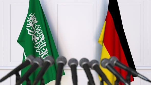Thumbnail for Flags of Saudi Arabia and Germany at International Press Conference