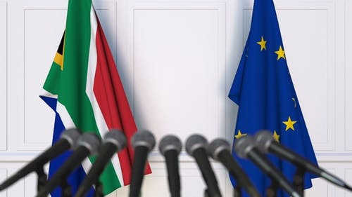 Flags of South Africa and the European Union at International Press Conference