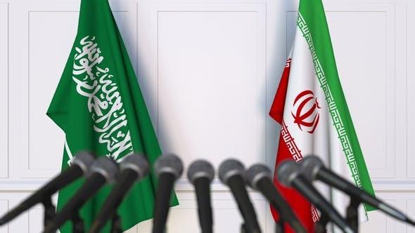 Thumbnail for Flags of Saudi Arabia and Iran at International Press Conference