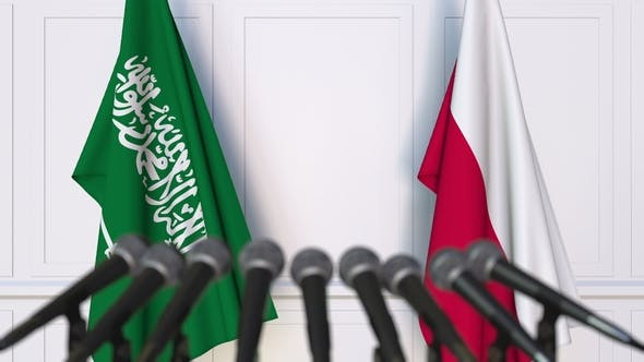 Thumbnail for Flags of Saudi Arabia and Poland at International Press Conference