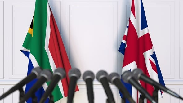 Thumbnail for Flags of South Africa and The United Kingdom at International Press Conference