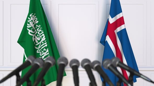 Thumbnail for Flags of Saudi Arabia and Iceland at International Press Conference