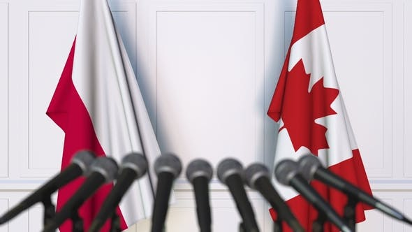 Thumbnail for Flags of Poland and Canada at International Press Conference