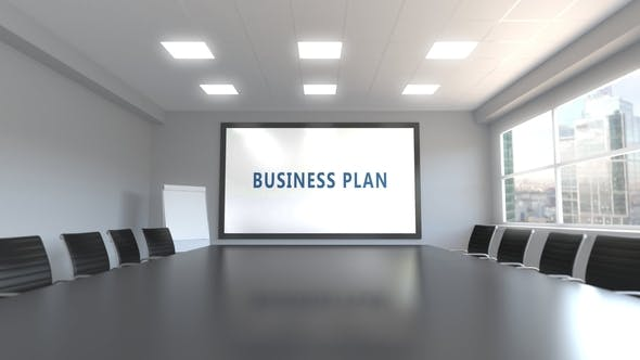 Thumbnail for BUSINESS PLAN Caption on the Screen in a Meeting Room