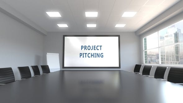 Cover Image for PROJECT PITCHING Caption on the Screen in a Meeting Room