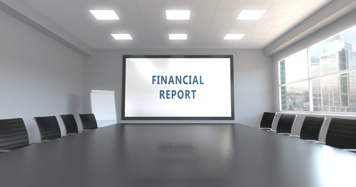 FINANCIAL REPORT Caption on the Screen in a Meeting Room