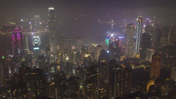 Thumbnail for Illuminated Hong Kong Skyline at Night. View From Victoria Peak