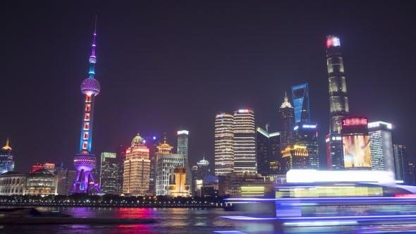 Thumbnail for Illuminated Shanghai Skyline. Lujiazui Financial District and Huangpu River. China