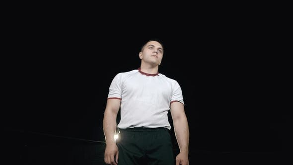 Thumbnail for Rugby Player in a White Uniform on a Stadium  Portrait