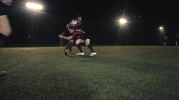 Thumbnail for Athletes From Scotland Training Before Game, Player Hit Rugby Young Man on Training