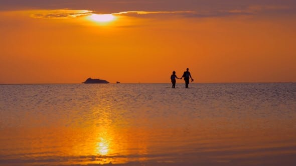 Thumbnail for Couple Walking in Sea at Sunset