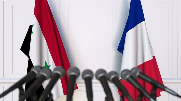 Thumbnail for Flags of Syria and France at International Press Conference
